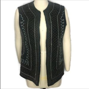 Vest XL-XXL embroidery BOHO fully lined deep green